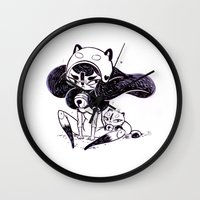 bee and puppycat Wall Clocks featuring Bee and Puppy by Yoii