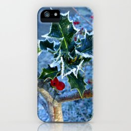 Holly tinged with frost iPhone Case