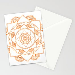 Mandala 01 - Orange on White Stationery Cards