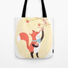 Fox apple picking Tote Bag