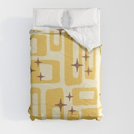 Retro Mid Century Modern Abstract Pattern 577 Yellow Brown Comforters