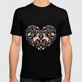 Unicorns, rabbits, birds, flowers. Decorative seamless pattern. Folk art. T-shirt