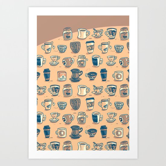 Coffee & Tea & Butts Art Print