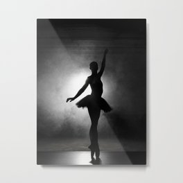 Silhouette of a ballerina with smoke in black and white Metal Print