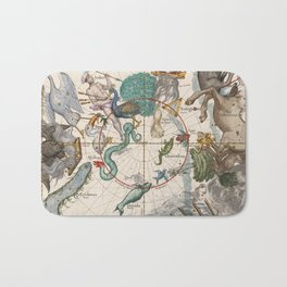 Old Constellation Map Year 1693 Bath Mat