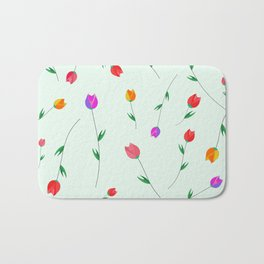 Pattern of tulips. Tulips scattered on the web Bath Mat
