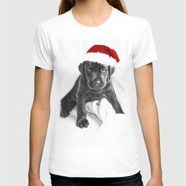 Black labrador puppy with Christmas hat T-shirt