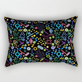 Abstract 'I see faces' black background print Rectangular Pillow