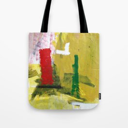 No. 02 Yellow Red and Green Bold Abstract Painting  Tote Bag