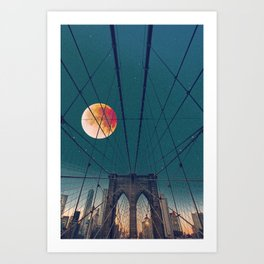 Blood Moon over the Brooklyn Bridge and New York City Art Print