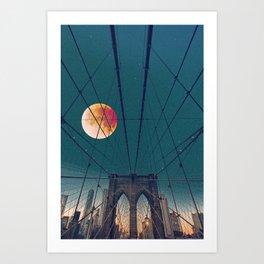 Blood Moon over the Brooklyn Bridge and New York City Art Print