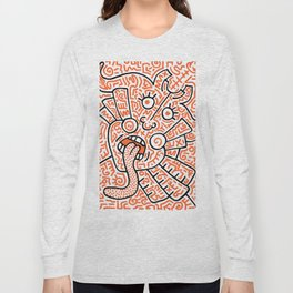 """The Face"" - inspired by Keith Haring v. orange Long Sleeve T-shirt"