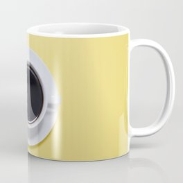 Black Cup of Coffee with Coffee Beans on Yellow Coffee Mug