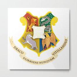 hogwarts coat of arms black Metal Print