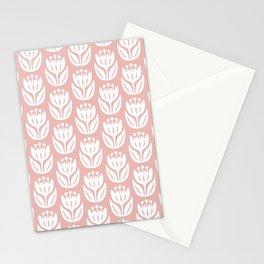 Mid Century Modern Flower Pattern Dusty Rose 333 Stationery Cards