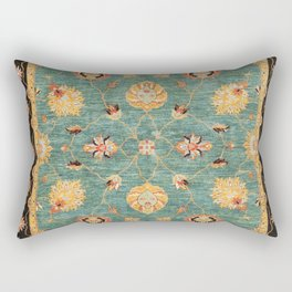 Oushak  Antique Gold Teal Turkish Rug Print Rectangular Pillow