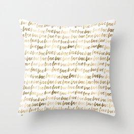 Gold Love Pattern Throw Pillow