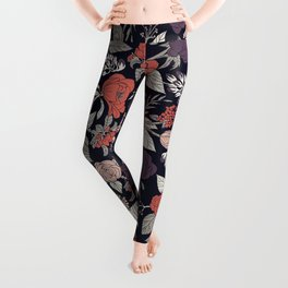 Purple, Gray, Navy Blue & Coral Floral/Botanical Pattern Leggings