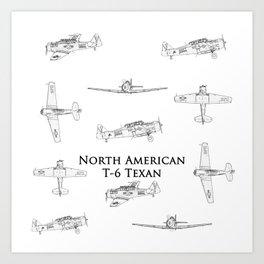 North American T-6 Texan Blueprint Style Artwork Art Print