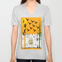 Black Cat on a Spooky Fence - Halloween Unisex V-Neck