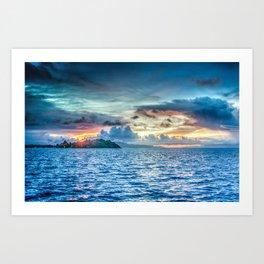 Bora Bora Polynesia sunset Art Print