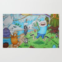 finn and jake Area & Throw Rugs featuring Finn and Friends by Li'l Red Designs