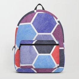 Purple and Blue Beehive Geometric Textured Digital Pattern Backpack