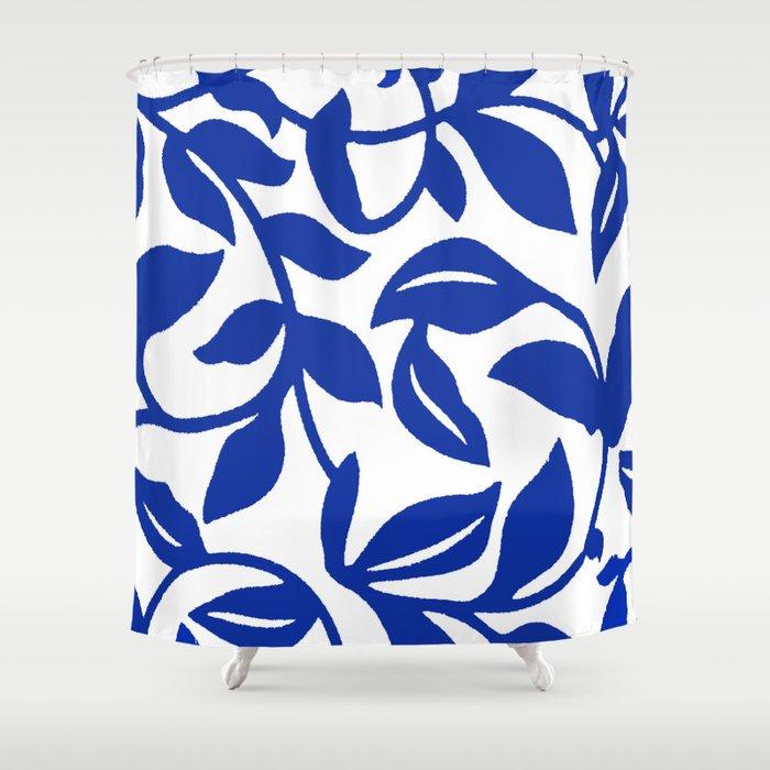 PALM LEAF VINE SWIRL BLUE AND WHITE PATTERN Shower Curtain
