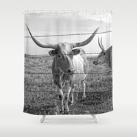 cows Shower Curtains featuring Longhorn Cows by Colleen G. Drew