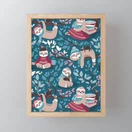 Hygge sloth // turquoise and red Framed Mini Art Print