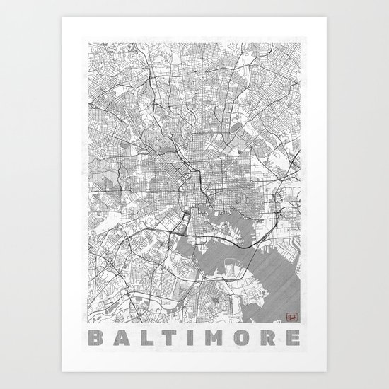 Baltimore Map Line Art Print