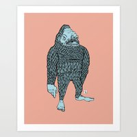 bigfoot Art Prints featuring Bigfoot by Mason W