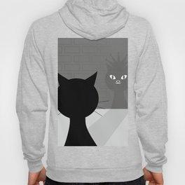 Black cat looks at his shadow #society6 #decor #buyart #artprint Hoody