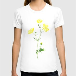 yellow buttercup flower watercolor T-shirt