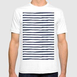 Navy Blue Stripes on White T-shirt