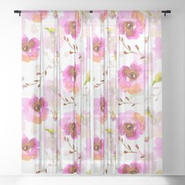 Pink Little Watercolor Spring Florals Sheer Curtain