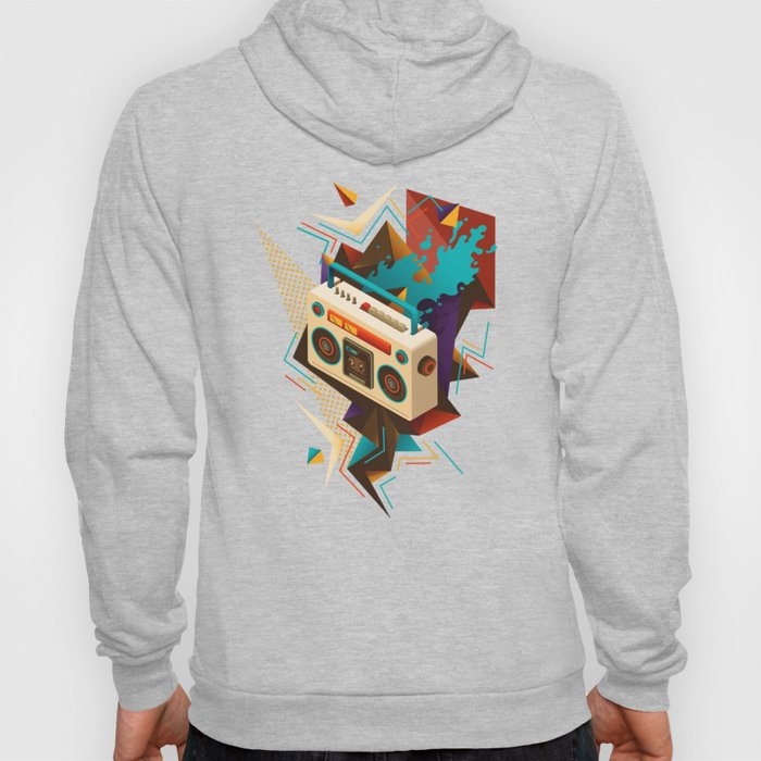 Bust Out The Jams Retro 80s Boombox Splash Hoody
