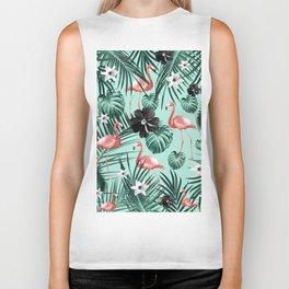 Tropical Flamingo Flower Jungle #3 #tropical #decor #art #society6 Biker Tank