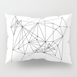 White Geometric Dots and Lines Pillow Sham