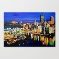 pittsburgh Canvas Prints featuring Pittsburgh by Emily May Carson