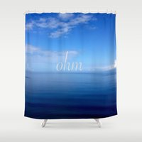 ohm Shower Curtains featuring Om  by Tru Images Photo Art
