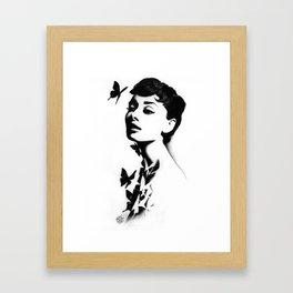 AUDREY WITH BUTTERFLIES.  Framed Art Print