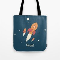 rocket Tote Bags featuring Rocket by Jane Mathieu