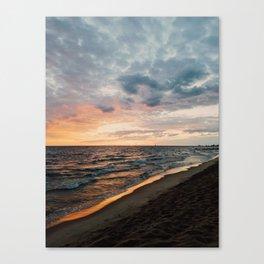 Vibrant Sunset on Lake Michigan Canvas Print