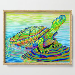 Colorful Psychedelic Neon Painted Turtle Rainbow Turtle Serving Tray