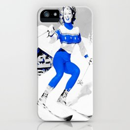 Snow Bunny Pin Up Girl Blue iPhone Case