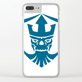 Neptune Skull Trident Crown Crest Icon Clear iPhone Case