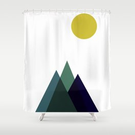 Mountains and Sun Modern Art Print in Teal, Chartreuse and Navy Shower Curtain