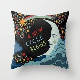 A new cycle begins Throw Pillow