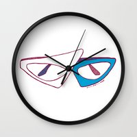 80s Wall Clocks featuring 80s Glasses by Addison Karl